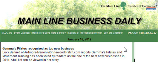 Gemmas Pilates recognized by Main Line Chamber